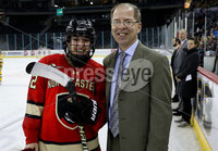 Press Eye - Belfast -  Northern Ireland - 05th January 2019 - Photo by William Cherry/Presseye. Northeastern University\'s Player of the Game, Skylar Fontaine, with ECAC Hockey Commissioner, Steve Hagwell during Saturdays inaugural Womens Friendship Series game at the SSE Arena, Belfast.   Photo by William Cherry/Presseye