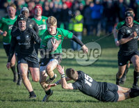 Press Eye - Belfast - Northern Ireland - 9th February 2019.. NO IMAGE FEE. Danske Bank Schools Cup rugby, Sullivan Upper v Campbell College.. Sullivans Conor McKee in action with Campbells Conor Rankin . Photo by Matt Mackey / Press Eye.