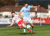 Danske Bank Premiership, Ballymena Showgrounds, Co. Antrim 6/10/2018. Ballymena vs Newry City. Ballymena\'s Adam Lecky in action with Darren. King of Newry City. Mandatory Credit INPHO/Matt Mackey
