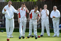 Mandatory Credit: Rowland White/Presseye. Bowls: Inter-Association . Teams: Private Greens League (red and white) v Provincial Bowling Association (white). Venue: Belmont. Date: 2nd June 2012. Caption: Martin McHugh (left) for PGL against Provincials