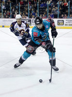 Press Eye - Belfast -  Northern Ireland - 03rd February 2019 - Photo by William Cherry/Presseye. Belfast Giants\' Kyle Baun with Guildford Flames\' TJ Foster during Friday nights Elite Ice Hockey League game at the SSE Arena, Belfast.   Photo by William Cherry/Presseye