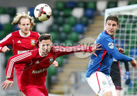 Irish Cup Fifth Round, Windsor Park, Belfast 6/1/2018. Linfield vs Glebe Rangers. Linfield\'s Mark Haughey with Glebe\'s Daniel Brown. Mandatory Credit ©INPHO/Jonathan Porter