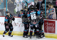 Press Eye - Belfast -  Northern Ireland - 06th January 2018 - Photo by William Cherry/Presseye. A young Belfast Giants fan celebrates after g91 David Rutherford scores against Sheffield Steelers during Saturday nights Elite Ice Hockey League game at the SSE Arena, Belfast