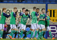 PressEye - Belfast - Northern Ireland - 10th October 2017. Euro 2019 Qualifier. Northern Ireland U21 vs Estonia U21. Pictured: Northern Ireland\'s Ryan Johnson celebrates an early goal.. Picture: PressEye / Philip Magowan