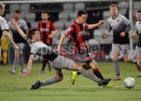 3/12/2019. Bet McLean league cup semi final between Crusaders and Institute at Seaview.. Crusaders  Paul Heatley in action with Institutes Conor Tourish. Mandatory Credit Inpho/Stephen Hamilton