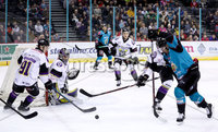 Press Eye - Belfast -  Northern Ireland - 03rd March 2019 - Photo by William Cherry/Presseye. Belfast Giants\' David Rutherford with Manchester Storm\'s Evan Richardson during Sunday afternoons Elite Ice Hockey League game at the SSE Arena, Belfast.