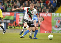 9th August 2019. Danske Bank Premiership. Mourneview Park, Lurgan. . Glenavon FC Vs Glentoran FC. Glenavon Josh Daniels  in action with Glentorans John Heron. Mandatory Credit : Stephen Hamilton/Inpho