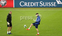 Press Eye - Belfast -  Northern Ireland - 11th November 2017 - Photo by William Cherry/Presseye. Northern Ireland\'s Maik Taylor and Oliver Norwood during Saturday nights training session at St. Jakob-Park ahead of Sunday nights World Cup Play Off against Switzerland in Basel.