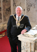 Press Eye - Belfast - Northern Ireland - 1st June  2020 -  . Councillor Frank McCoubrey has tonight been elected the new Lord Mayor of Belfast.. Tonights AGM was held at Belfast City Hall however a limited number of councillors were in attendance in order for Members to be able to observe social distancing within the Council Chamber..  . Photo by Kelvin Boyes / Press Eye..