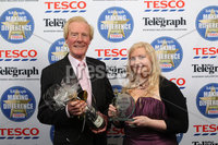 Press Eye - Belfast - Northern Ireland . 2012 Belfast Telegraph Making The Difference Awards  supported by TESCO.. Carer in the Community award sponsored by North West Healthcare Group presented by Dr Cecil Stewart, Chairman, North West Healthcare Group too the Winner Hazel McFarlane.  Mandatory credit: Picture by Brian Thompson/ Presseye.com. . .