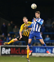 Tennent\'s Irish Cup Round 5, The Showgrounds, Co. Londonderry 5/1/2019. Coleraine vs H&W Welders. Coleraine\'s Steven Douglas in action with H&W Welders Ross Arthurs. Mandatory Credit INPHO/Matt Mackey