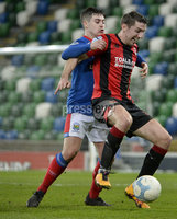 21/02/2020. Danske Bank Irish Premiership match between Linfield and Crusaders at The National Stadium.. Linfields  Jordan Stewart  in action with Crusaders Gary Thompson . Mandatory Credit  Inpho/Stephen Hamilton