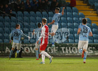 Danske Bank Premiership, Showgrounds, Ballymena. 14/2/2020. Ballymena United  vs Linfield FC. Ballymena United\'s Joseph McCready scores the opening goal against Linfield.. Mandatory Credit  INPHO/Brian Little