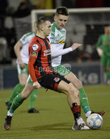 25/01/2020. Danske Bank Premiership, Seaview, Belfast Co. Antrim . Crusaders v Cliftonville . Crusaders Rory Hale  in action with Cliftonvilles Ryan Curran . Mandatory Credit INPHO/Stephen Hamilton.