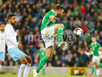 Press Eye Belfast - Northern Ireland 11th September 2018. International Challenge match at the National Stadium at Windsor Park in Belfast.  Northern Ireland Vs Israel. . Northern Ireland\'s Stuart Dallas scores to make it 2-0. . Picture by Jonathan Porter/PressEye.com