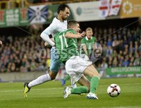 11th August 2018. International Friendly match between . Northern Ireland and Israel  at the national stadium in Belfast.. Northern Irelands Paddy McNair  in action with Israels Samuel Scheimann.  Mandatory Credit: Stephen Hamilton /Presseye