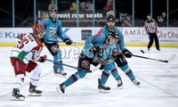 Press Eye - Belfast, Northern Ireland - 01st February 2020 - Photo by William Cherry/Presseye. Belfast Giants\' Brian Ward with Cardiff Devils\' Sam Duggan during Sunday afternoons Elite Ice Hockey League game at the SSE Arena, Belfast.   Photo by William Cherry/Presseye