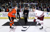 Press Eye - Belfast, Northern Ireland - 29th November 2019 - Photo by William Cherry/Presseye. Anne Beggs from Northern Ireland Connections performs the ceremonial faceoff with Colgate Raiders captain Bobby McMann and Princeton captain Derek Topatigh during Friday evenings Friendship Four game at the SSE Arena, Belfast.     Photo by William Cherry/Presseye