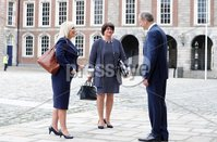 Press Eye - Belfast - Northern Ireland - 31st July 2020 - . First Minister Arlene Foster and deputy First Minister Michelle ONeill  with Taoiseach Michel Martin pictured at the meeting of the North South Ministerial Council at Dublin Castle.. . Photo by Kelvin Boyes / Press Eye..