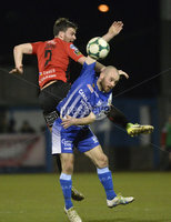 Danske Bank Premiership, The Showgrounds Newry 11/01/2019. Newry vs Crusaders. Newrys Stephen Hughes  with Crusaders Philip lOWRY. Mandatory Credit INPHO/Stephen Hamilton.