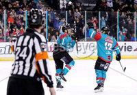 Press Eye - Belfast -  Northern Ireland - 09th February 2018 - Photo by William Cherry/Presseye. Belfast Giants David Rutherford celebrates scoring against Fife Flyers during Friday nights Elite Ice Hockey League game at the SSE Arena, Belfast.