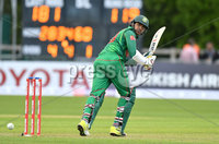 Mandatory Credit: Rowland White / PressEye. Cricket: Walton Tri-Series International. Teams: Ireland (light green) v Bangladesh (dark green). Venue: Malahide. Date: 19th May 2017. Caption: Soumya Sarkar, Bangladesh