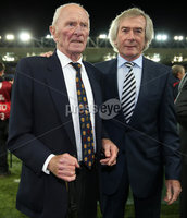 Press Eye - Belfast - Northern Ireland - 8th October 2016 -Picture by Brian Little/PressEye . Goal keeping Legends Harry Gregg and Pat Jennings attending The National Football Stadium at Windsor Park Opening Game and Ceremony before Northern Ireland vs San Marino 2018 FIFA World Cup Qualifier. Photo by Brian Little/ Press Eye.