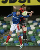 21/02/2020. Danske Bank Irish Premiership match between Linfield and Crusaders at The National Stadium.. Linfields Andy Waterworth in action with Crusaders Rodney Brown . Mandatory Credit  Inpho/Stephen Hamilton