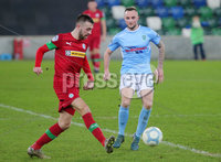 County Antrim Shield Final -  Windsor Park.  21.01.20. Cliftonville FC vs Ballymena United. Cliftonvilles Conor McMenamin with Ballymenas Jude Wincherster. Mandatory Credit INPHO/Jonathan Porter