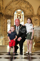 Press Eye - Belfast - Northern Ireland - 1st June  2020 -  . Councillor Frank McCoubrey has tonight been elected the new Lord Mayor of Belfast. He is pictured with his grand children Jensen McClurkin (3) and Isla McCoubrey (7).. Tonights AGM was held at Belfast City Hall however a limited number of councillors were in attendance in order for Members to be able to observe social distancing within the Council Chamber..  . Photo by Kelvin Boyes / Press Eye..