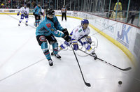 Press Eye - Belfast, Northern Ireland - 06th March 2020 - Photo by William Cherry/Presseye. Belfast Giants\' Elgin Pearce with Fife Flyers\' Mike Cazzola during Friday nights Elite Ice Hockey League game at the SSE Arena, Belfast.   Photo by William Cherry/Presseye