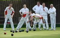 Mandatory Credit: Rowland White/Presseye. Bowls: Inter-Association . Teams: Private Greens League (red and white) v Provincial Bowling Association (white). Venue: Belmont. Date: 2nd June 2012. Caption: Close watch