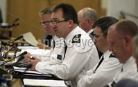 Northern Ireland- 7th June 2012 Mandatory Credit - Photo-Jonathan Porter/Presseye.  Policing Board meeting in public takes place at the Board\'s offices at Clarendon Dock in Belfast.  PSNI Chief Constable Sir Matt Baggott, along with senior colleagues, pictured addressing the meeting.