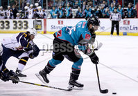 Press Eye - Belfast -  Northern Ireland - 03rd February 2019 - Photo by William Cherry/Presseye. Belfast Giants\' Blair Riley with Guildford Flames\' Evan Janssen during Friday nights Elite Ice Hockey League game at the SSE Arena, Belfast.   Photo by William Cherry/Presseye