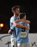 Tennent\'s Irish Cup Round 6, Windsor Park, Belfast 11/2/2019. Ballymena v Portadown. Ballymena\'s Adam Leckey celebrates scoring with Cathair Friel. Mandatory Credit INPHO/Stephen Hamilton.