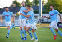 Europa League Preliminary Qualifying Round First Leg, Ballymena Showgrounds, Co. Antrim 27/6/2019. Ballymena United vs NSI Runavik. Ballymena\'s Leroy Millar(centre) celebrates with his teammates after he scores to make it 1-0. . Mandatory Credit INPHO/Jonathan Porter