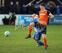 Danske Bank Premiership Play Off Loughshore Hotel Arena, Carrickfergus. Wednesday 9 May 2018. Carrick Rangers FC vs Newry City FC. Stephen Hughes Newry and Patrick McNally Carrick. Mandatory Credit ©INPHO/Freddie Parkinson