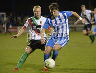 Bet Mclean league cup 3rd round . 8th October 2019. Coleraine  v Glentoran ay Ballycastle road, Coleraine. Coleraines Ben Doherty  in action with Glentorans Conor Pepper. Mandatory Credit INPHO/Stephen Hamilton.