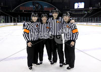 Press Eye - Belfast, Northern Ireland - 29th November 2019 - Photo by William Cherry/Presseye. Tonights officials for Friday afternoons Friendship Four game between Northeastern Huskies and New Hampshire Wildcats at the SSE Arena, Belfast. Photo by William Cherry/Presseye