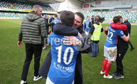 Danske Bank Premiership, Windsor Park,Belfast  13/4/2019. Linfield vs Crusaders. Linfield\'s  manager David Healy at the final whistle after winning the Danske Bank Premiership title.. Mandatory Credit INPHO/Brian Little