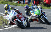 PressEye-Northern Ireland- 12th  August   2017-Picture by Brian Little/ PressEye. Ivan Linton (2) 650cc Kawasaki and Dan Cooper 650cc Kawasaki  around Lindsay Hairpin  during the Maxwell Freight Services Supertwins Race  at the MCE Insurance Ulster Grand Prix, around the 7.4  mile Dundrod Circuit . Picture by Brian Little/PressEye