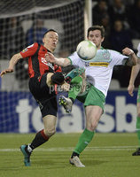 25/01/2020. Danske Bank Premiership, Seaview, Belfast Co. Antrim . Crusaders v Cliftonville . Crusaders Paul Heatley  in action with Cliftonvilles Michael McCrudden. Mandatory Credit INPHO/Stephen Hamilton.