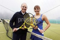 Northern Ireland- 21st March 2012 Mandatory Credit - Photo-Jonathan Porter/Presseye.  . During a brief visit back to the Province, keen tennis player, Senator George Mitchell officially opened the Belfast Boat Club 4 court dome.   A Democratic Senator in the Clinton administration George Mitchell played a leading role in peace negotiations here in Northern Ireland.  During this period he often played tennis at the Belfast Boat Club and with these fond memories he returned for a quick game together with his son Andrew.. Home to Northern Ireland's largest tennis club, the Belfast Boat Club            pioneered covered tennis when they erected the first three court dome in the country ten years ago.  That original membrane had to replaced this year so covering seven courts has been a considerable investment  of £200,000 for the club.. Boat Club Manager Doreen Brett commented, 'The Club hosts and competes in all the major tournaments, has a strong coaching academy and is gearing up to host the World Police and Fire games next year, so giving people the chance to play and train all year round is a necessity rather than a luxury.'. Photo:  Senator George Mitchell officially opens the 4 court dome at Belfast Boat with Lynsey McCullough, Ulster's No One ladies tennis player.. END. Any queries, please contact Ann Gorman Marketing 07787563854.