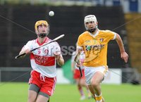 Ulster GAA Senior Hurling Championship Final - Antrim v Derry - 8th July 2012. Copyright Presseye.com. Mandatory Credit Declan Roughan / Presseye. Antrim\'s Johnny Campbell and Derry\'s Paddy Kelly