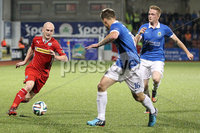 @Press Eye Ltd Northern Ireland- 2nd September 2014. Mandatory Credit -Brian Little/Presseye . Cliftonville Ryan Catney     and Linfield   Matthew Clarke     during Tuesday night\'s Danske Bank Premiership match at Solitude.. Picture by Brian Little/Presseye .  . . . .  . . . . .  . . .  . . . . . . . . . . . . . . . . . . . .  . . . . . . .   . . . . .  . . . . .  . .                  . . . . . . . . . . . . . . . .  . . .                   . .    .  . . . . . . . . . . . .  . . . .  . .  . . . . . . . . . . . . . . . . . . . . . . . . . . . . . . . . . . . . . . . . . . . . . . . . . . . . . . . . . . . . . . . . . . . . . . . . . . . . . . . . . . . . . . . .  . . . . . . . . . . . .