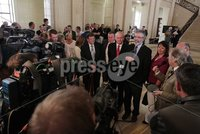 Northern Ireland- 11th June 2012 Mandatory Credit - Photo-Jonathan Porter/Presseye.  Sinn Fein hold press conference at the Great Hall in Stormont\'s Parliament Buildings in relation to political parties holding dual mandates.  Sinn Fein\'s Pat Doherty, Conor Murphy, Martin McGuinness, Party President Gerry Adams and Michelle Gildernew.