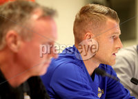 Press Eye - Belfast -  Northern Ireland - 11th October 2018 - Photo by William Cherry/Presseye. Northern Ireland captain Steven Davis during Thursday nights press conference at the Ernst Happel Stadium in Vienna, ahead of their UEFA Nations League game against Austria.
