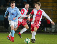 Tenants Country Antrim Shield Semi Final at Ballymena Showgrounds.  08.01.2019. Ballymena United v Linfield FC. Ballymena\'s Ryan Harpur with Linfield\'s Joel Cooper. Mandatory CreditINPHO/PressEye.com/Jonathan Porter.