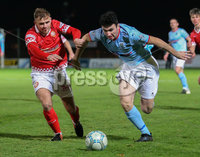 BetMcLean League Cup Round 3, Ballymena Showgrounds, Ballymena 10/10/2017. Ballymena United vs Portadown. Ballymena United\'s Joseph McKinney and Fra Brennan of Portadown. Mandatory Credit ©INPHO/Brian Little