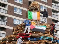 Press Eye - Belfast - Northern Ireland - 8th August 2017 . A bonfire pictured in the nationalist new Lodge estate in north Belfast which is due to be lit tonight(Tuesday).  Republican bonfires are burnt on the 8th August to mark the anniversary of internment.  Internment was introduced in 1972 to Northern Ireland by the British government and involved locking up tourist suspects without trail.  Republican bonfires are only in small numbers and Belfast has seen some trouble in the last few days due to agencies removing them. . Photo by Jonathan Porter / Press Eye.